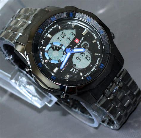 Jam Tangan Swiss Army Black Blue mens branded jam tangan pria black silver