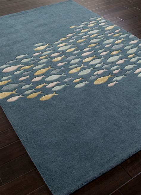 fishing rug plush tufted school of fish coastal living wool rug blue