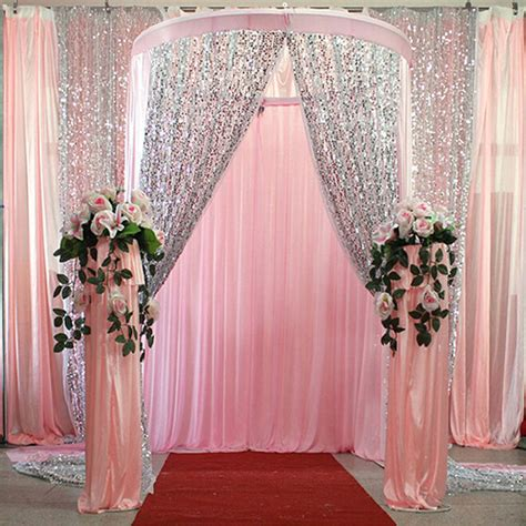 Wedding Backdrop Fabric by 4 6ft Silver Gold Shimmer Sequin Fabric Photography