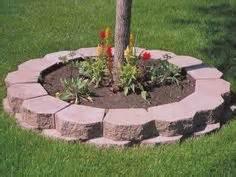 block garden wall paver tree ring outdoor spaces gardens