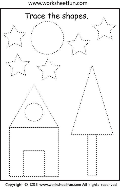 triangle pattern to trace preschool shape tracing worksheet pinterest trees