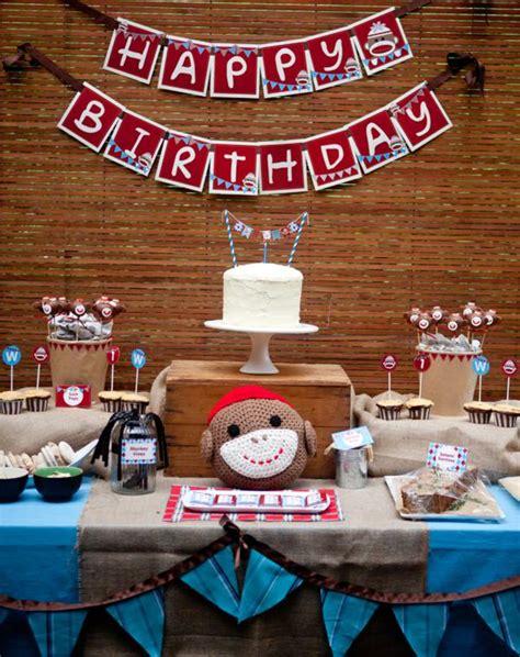 Monkey Birthday Decorations by Sock Monkey Birthday Decorations Invitations