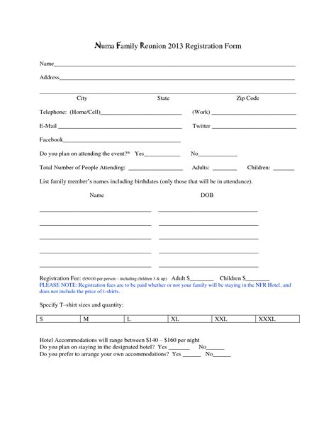 class registration template family reunion registration form template family