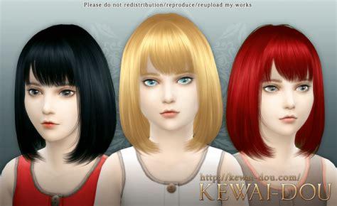 sims 4 female child hair cecile child hair by kewai dou sims 4 nexus