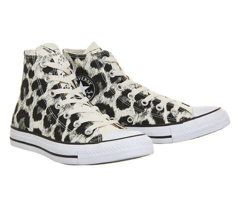 office snow leopard converse converse all star hi trainers parchment leopard unisex