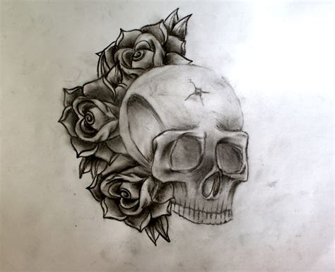 skull n roses tattoo picture