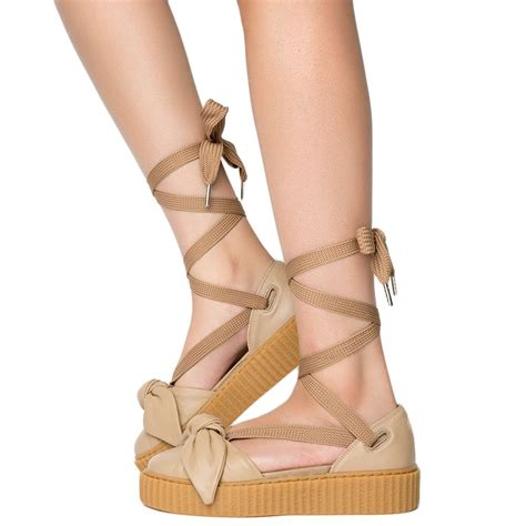 Bow Creepers Sandals Brown bow creeper sandal oatmeal