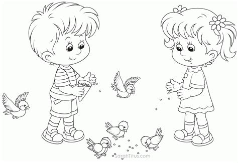 coloring page of little girl and boy little boy and girl coloring pages coloring home