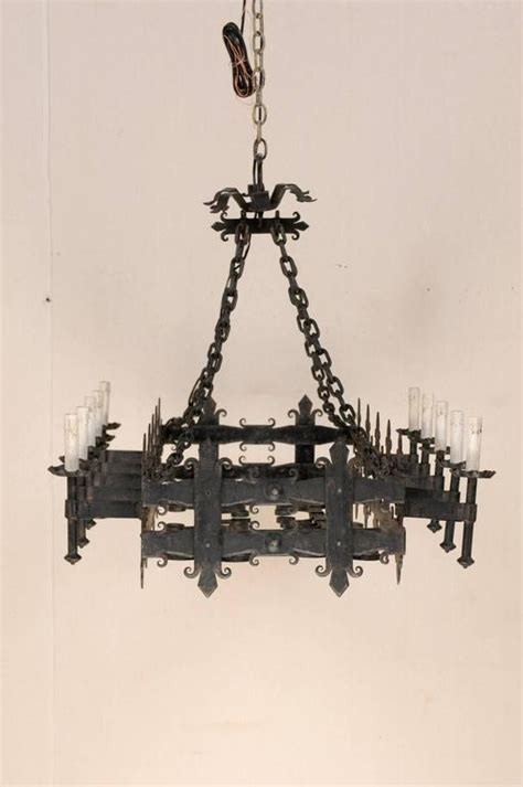Rectangular Shaped Chandeliers Italian Black Forged Iron Rectangular Shaped Chandelier With Ten Lights For Sale At 1stdibs