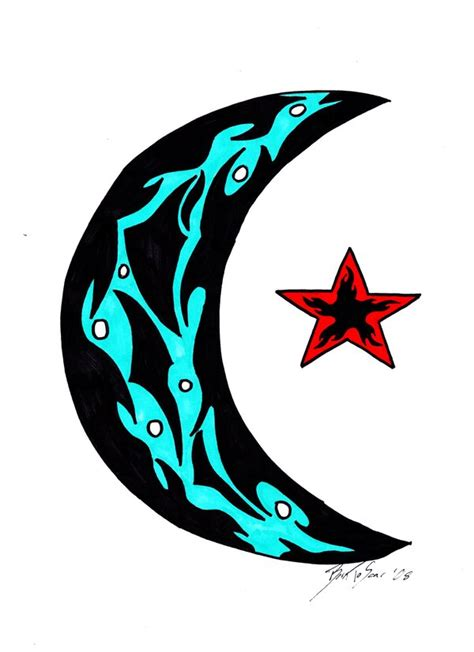 tribal moon and star tattoos corey design ideas by edwin underwood
