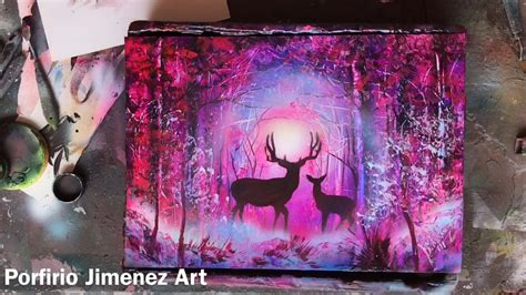 Sprei Unicorn Pink deer in the forest spray paint