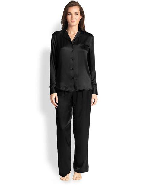 Pajamas Black Jersey 2015 la perla dolce silk pajamas in black lyst