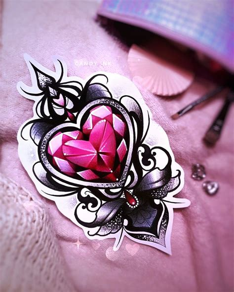 diamond heart tattoo dimonds neo traditional girly design
