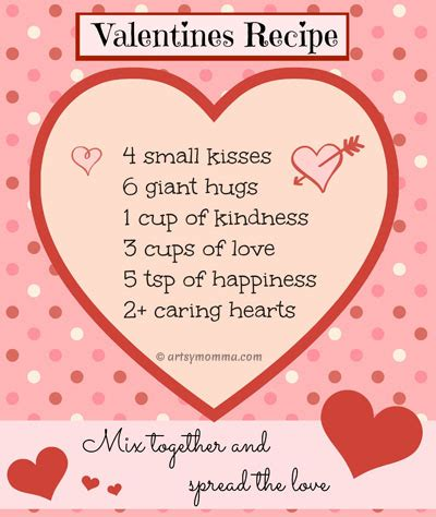 printable recipe for love cards sweet recipe for valentine s day poem free printable