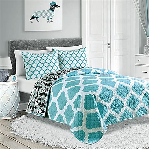 turquoise bed comforters pembrook reversible quilt set in turquoise bed bath beyond