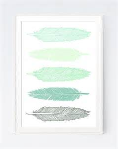 feathers print mint green feathers wall print modern