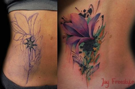 watercolor tattoo amsterdam cover up by freestyle tattoos