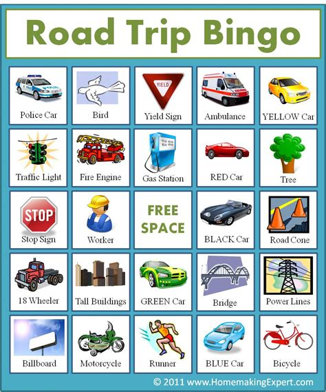free printable bingo games for adults road trip bingo printable cards