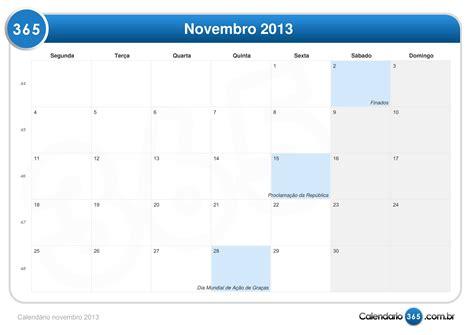 Calendario Novembro Calend 225 Novembro 2013