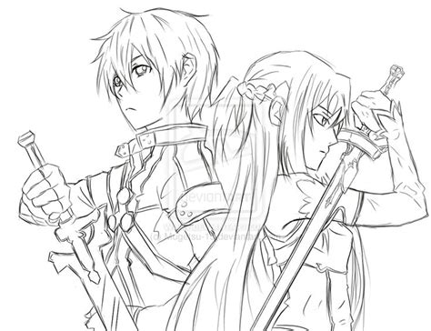 anime coloring pages sword art online sword art online kirito and asuna coloring pinterest