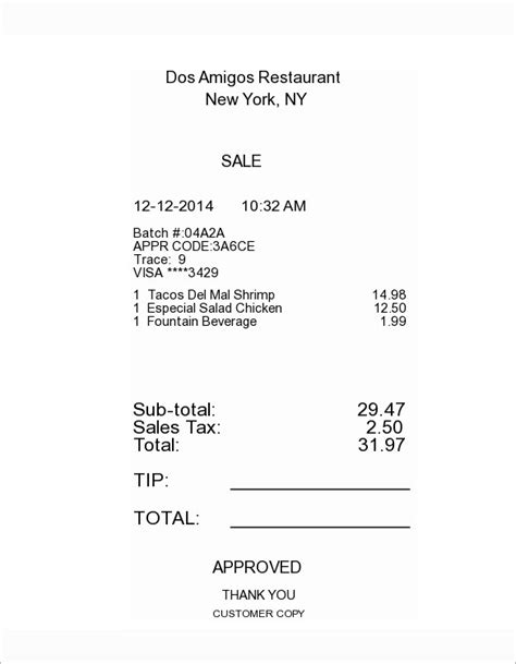 restaurant receipt template doc 5 itemized receipt templates doc excel pdf free