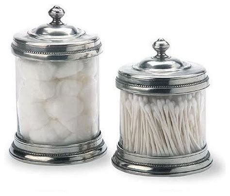 glass canisters for bathroom pewter and glass canisters by match of italy eclectic