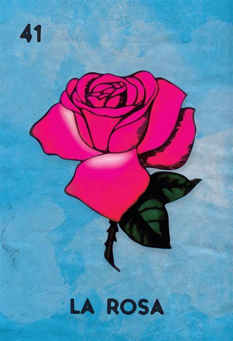 la rossa loteria la rosa mexican retro illustration sticker