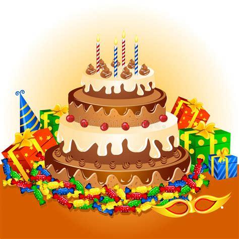 birthday cake  gifts royalty  stock photo image