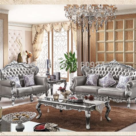 Silver Living Room Furniture with Luxury Silver Grey Oak European Style Living Room Furniture One Genuine Leather Sofa Set And