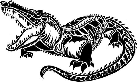 tribal crocodile tattoo awesome black alligator stencil