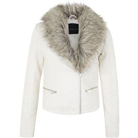 Jaket Oor leather look faux fur collar biker jacket found on