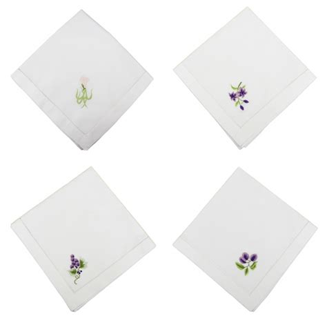 Handmade Napkins - handmade floral embroidered cotton napkin