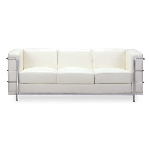 Modern Faux Leather Sofa Shop Zuo Modern Fortress White Faux Leather Sofa At Lowes