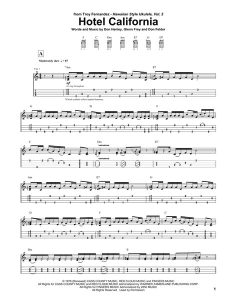 printable lyrics hotel california hotel california sheet music direct