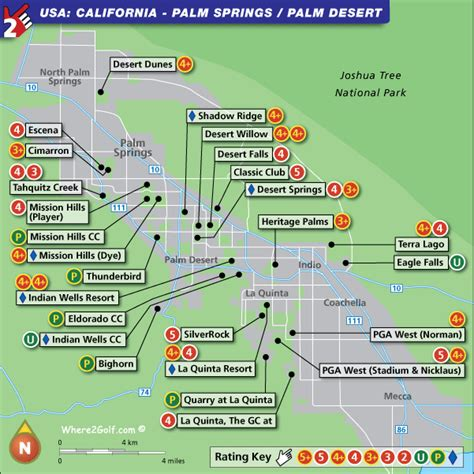 palm springs map palm springs golf map usa top 100 golf courses and resorts
