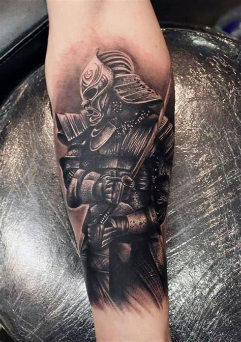 samurai sword tattoo black ink samurai with sword on forearm s