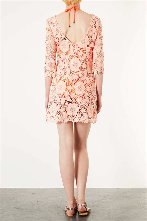 kaftan pleated lace guava pink topshop pink guipure lace kaftan in pink lyst