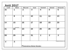 Calendrier Aout 2017 Calendrier 224 Imprimer Ao 251 T 2017 Jours F 233 Ri 233 S En