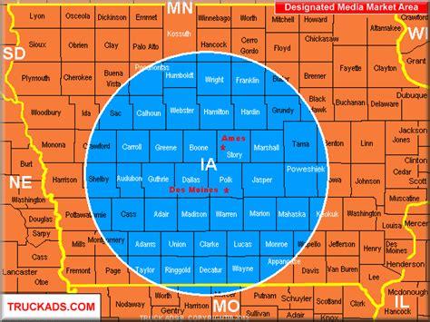zip code map des moines truck ads 174 des moines ames designated market map a d m
