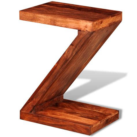 Z Shaped Side Table Wood Sheesham Solid Wood Z Shaped Side Table Lovdock