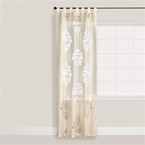 ivory curtain ivory damask burnout sheer curtain world market