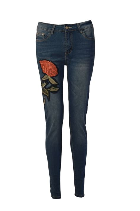ebay jeans womens ladies embroidered denim high waisted skinny fit