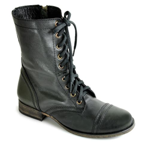 steve madden troopa black leather combat boot at