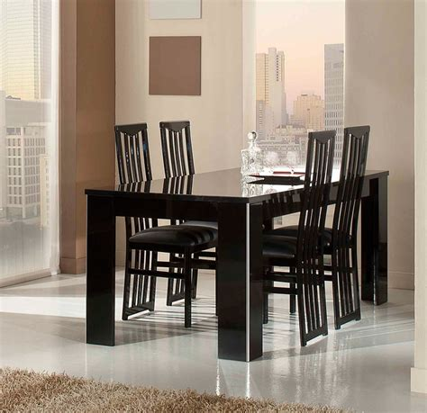 elite modern italian black lacquer dining table
