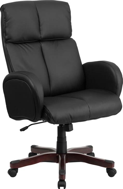 high  black leather executive swivel office chair  fully upholstered arms
