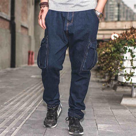 Brk Celana Jogger Japan Style japan style baggy hip hop blue elastic waist cargo jogger plus size