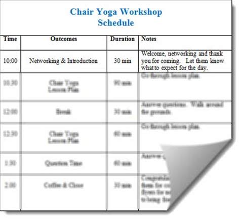 Chair Yoga Lesson Plan Workshop Schedule Template