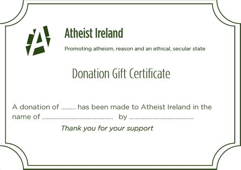 Atheist Ireland Promoting Atheism Reason And An Ethical Secular State Donation Has Been Made In Your Name Template
