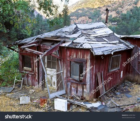 run of house abandoned and rundown one room house stock photo 64381954