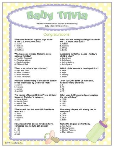 Fun Baby Facts For Baby Showers by Baby Trivia Multiple Choice Baby Shower Quiz Party Ideas